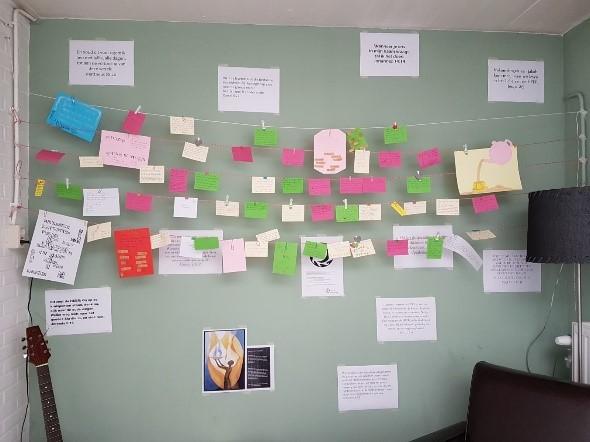 Gebedsbriefjes in Gebedshuis Zuilen